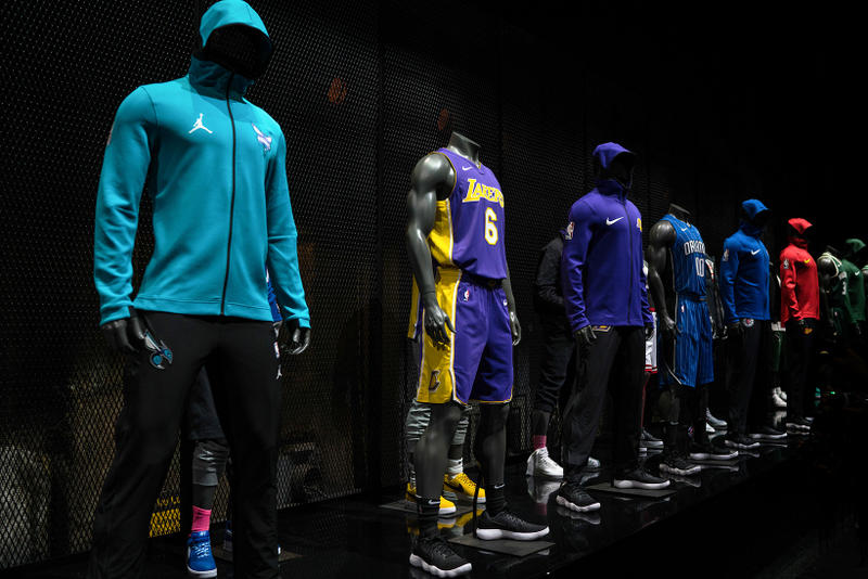 Nike NBA jersey Unveiling Los Angeles sports fashion Kevin Durant Paul George JR Smith Nike Air Force 1 Off White Recap