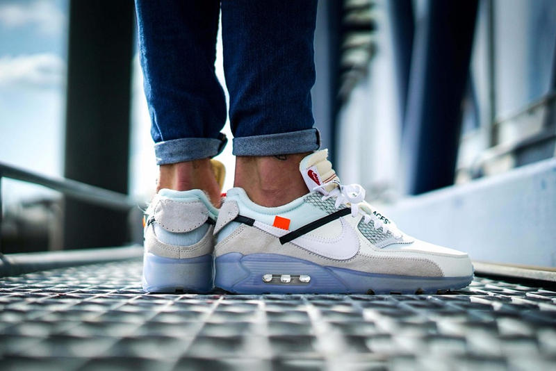 f377a4056769 OFF WHITE Air Max 90 Ice On Feet Foot Pictures Pics Photos Shots Editorial