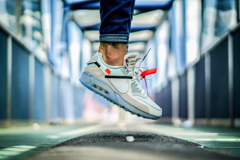 OFF WHITE Air Max 90 Ice On Feet Foot Pictures Pics Photos Shots Editorial