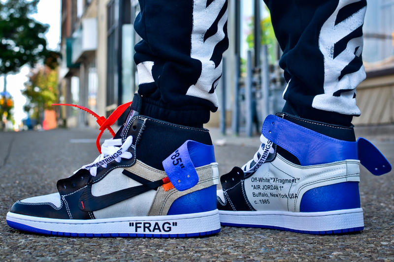 9f7847d8668fa8 Off White c o Virgil Abloh fragment design Collaboration Air Jordan 1 AJ1  On Feet