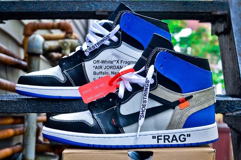 innovative design 460ca cba3b Off White c o Virgil Abloh fragment design Collaboration Air Jordan 1 AJ1  On Feet