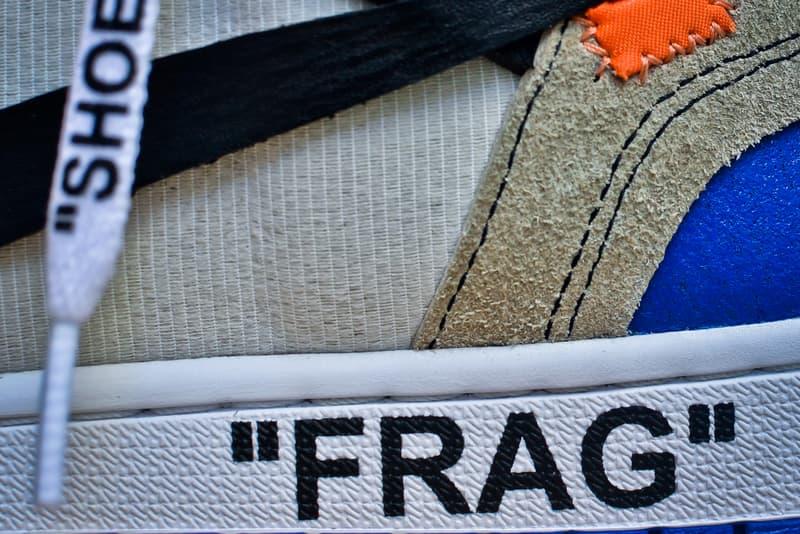 Off White c/o Virgil Abloh fragment design Collaboration Air Jordan 1 AJ1 On Feet Custom Sneakers Closer Look