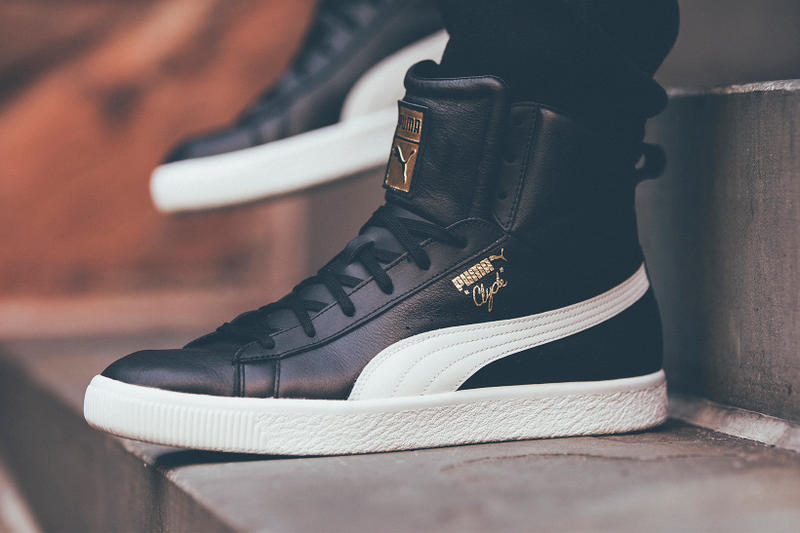Puma Clyde Mid Foil Leather black side profile