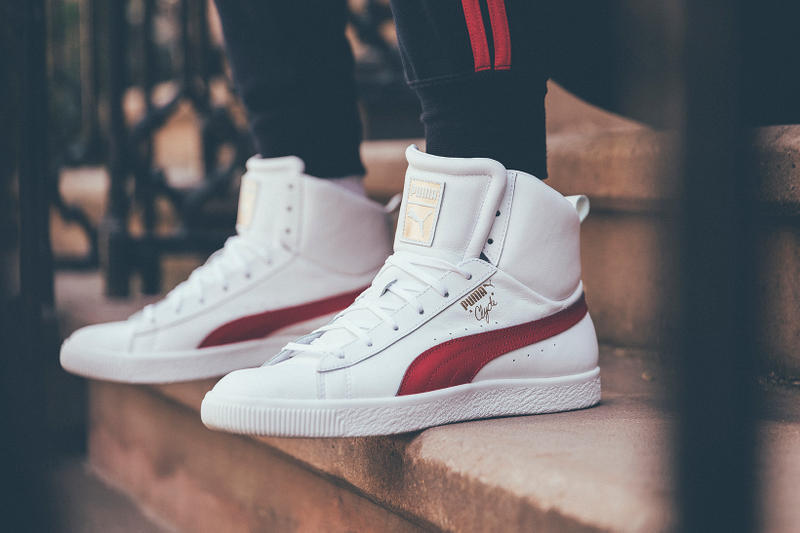 Puma Clyde Mid Foil Leather white side profile