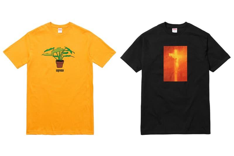 Supreme Yellow Plant Tee and Serrano Collab Tee
