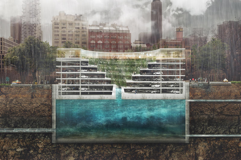 THIRD NATURE Parking Structure garage City Urban Green Space Flooding Prevention plants POP-UP water reservoir cars