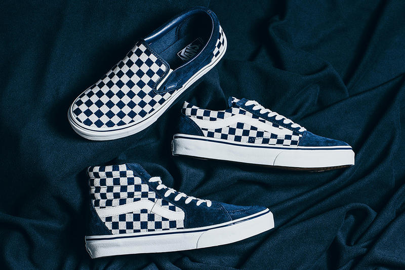 5b1ebcb3b9 Vans Japan Indigo Checkerboard Pack Sk8 Hi Classic Slip On Old Skool  INVINCIBLE Sneakers Shoes Footwear