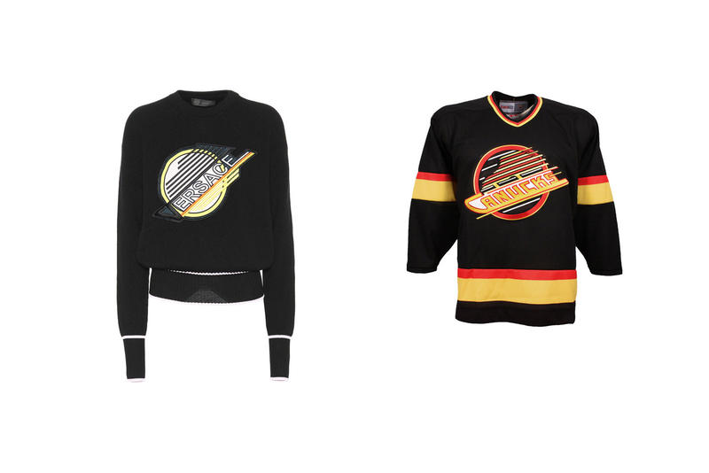Versace Sweatshirt Logo Vancouver Canucks NHL Hockey Fashion Plagiarism Copy Black