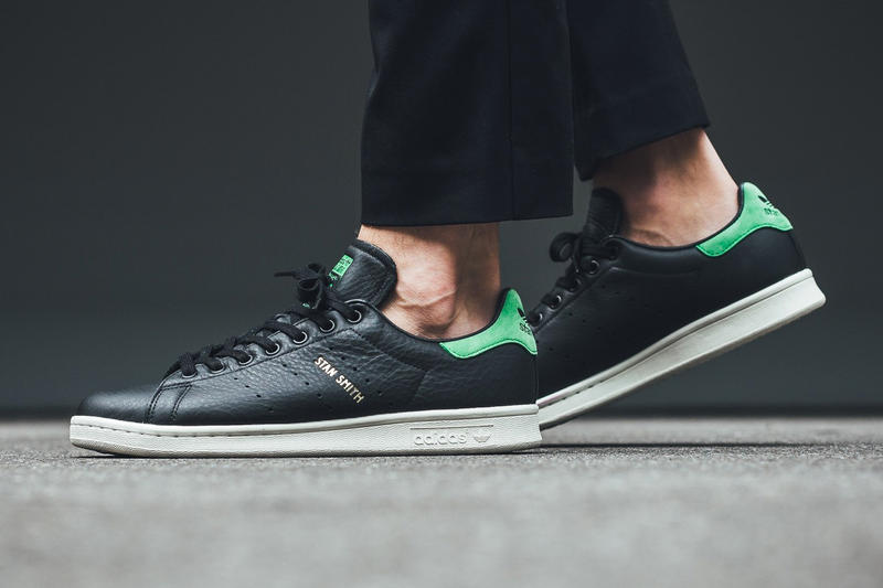 adidas Originals Stan Smith Core Black Green leather sneakers