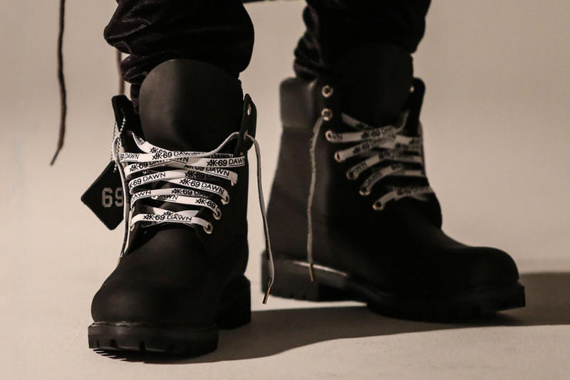 atmos x AK-69 x Timberland 6-inch boot collaboration drop release date info black white laces nubuck suede
