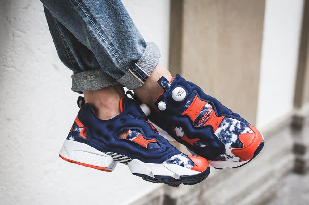 atmos Reebok Instapump Fury Bleached Denim 2017 October 7 Release Date Info Sneakers Shoes Footwear red blue white orange