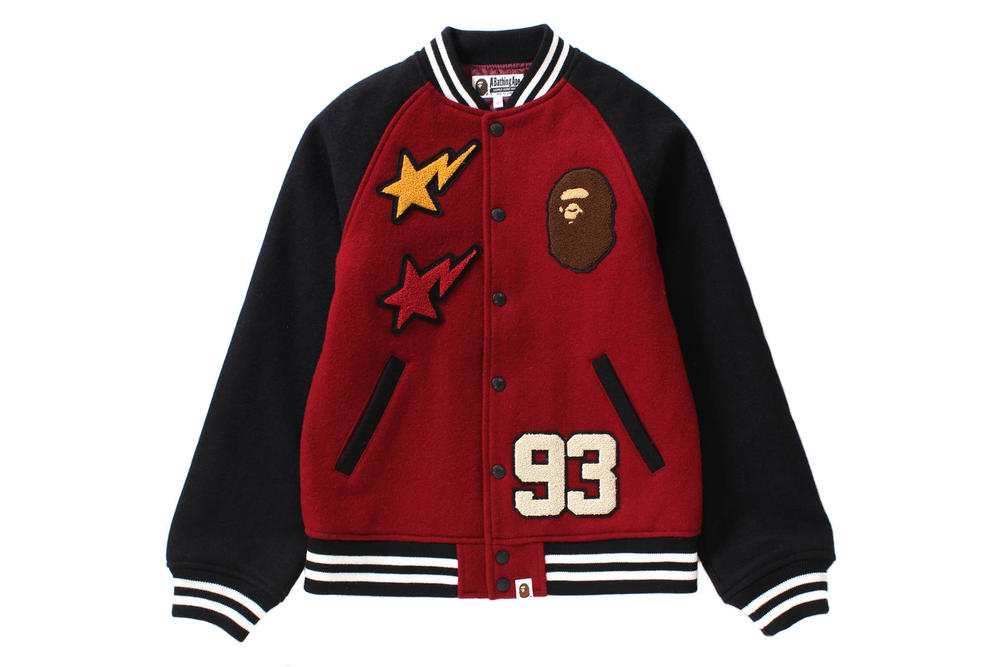 BAPE Varsity Jacket Beige Red Black
