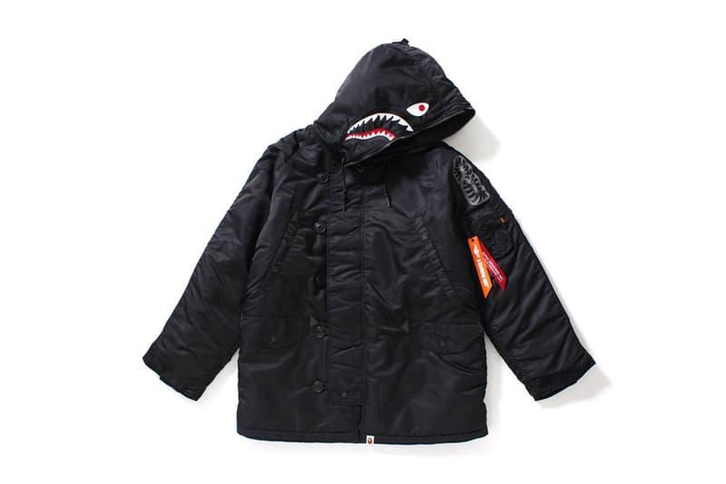 BAPE Alpha Industries 1ST CAMO MA 1 Bomber Shark N 3B Parka Jackets 2017 October 14 Release Date Info