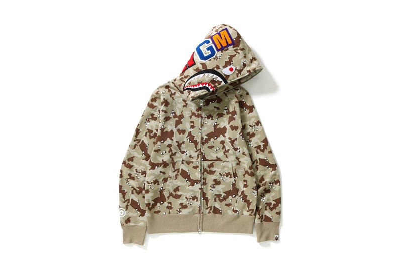 BAPE Fall Winter 2017 CAMO SHARK FULL ZIP HOODIE Beige Black October Release Date Info