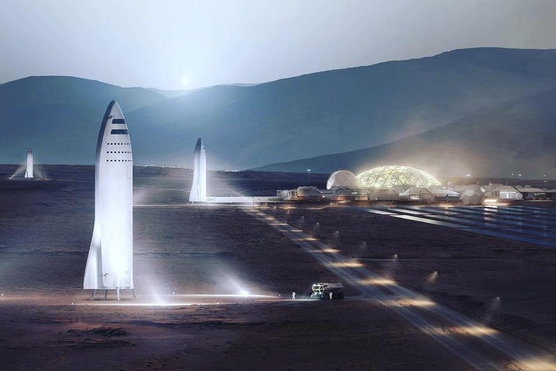 Elon Musk SpaceX Moon Base Lunar Mars City Colony BFR