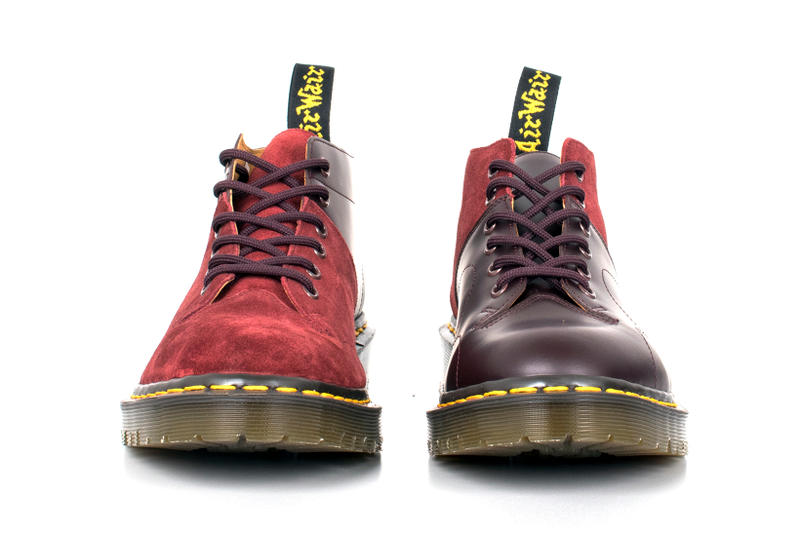 Engineered Garments Dr. Martens Monkey Boots Cherry Black Suede Pebbled Leather