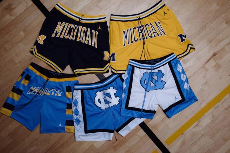 Just Don Jordan Brand Collegiate Shorts Collaboration UNC North Carolina Marquette Georgetown Michigan 2017 October 14 Release Date Info