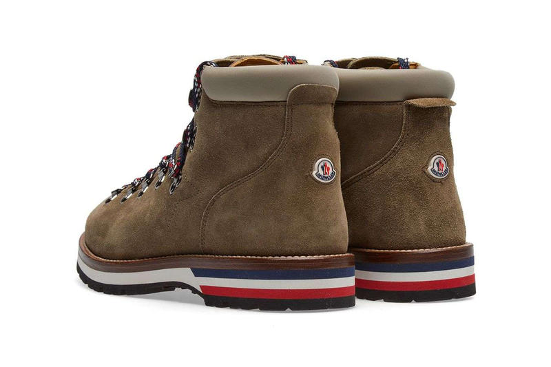 Moncler Fall Winter 2017 Peak Mountain Boot Sand Suede October Release Date Info Shoes Footwear END Clothing red white blue hiking