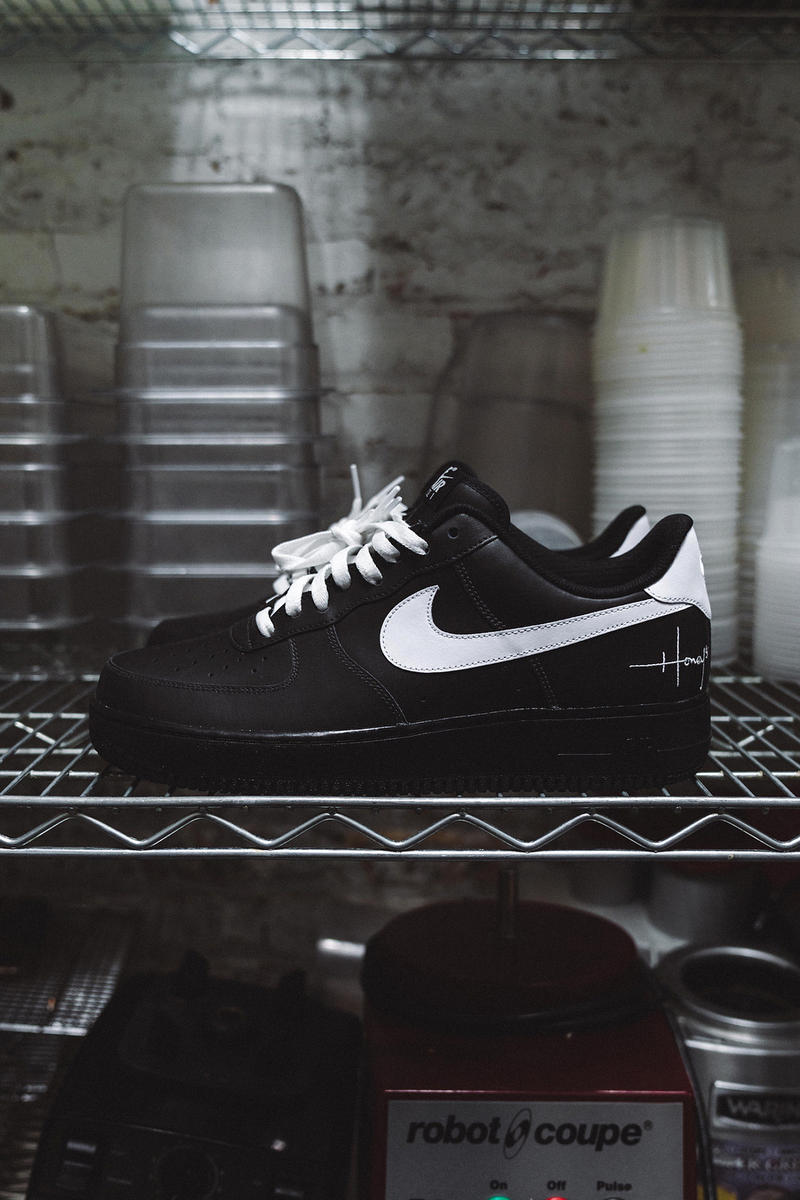 Nike Air Force 1 Low Honeys Chicago Staff Shoes Custom Bespoke Script Logo Restaurant black white