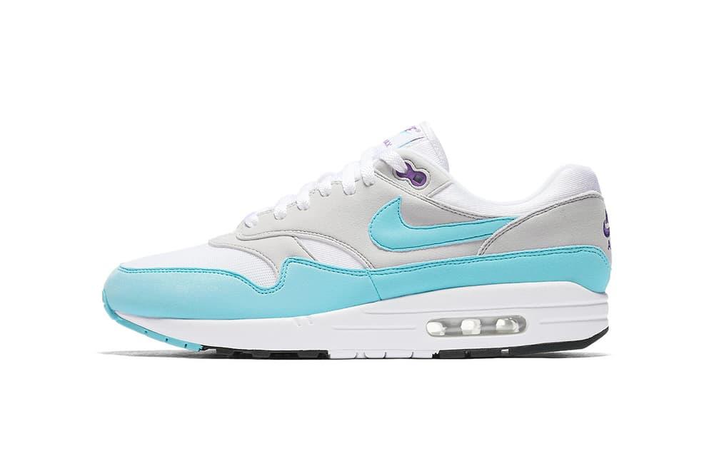 Nike Air Max 1 Anniversary Aqua Purple White Grey 2017 Fall Release Date Info Sneakers Shoes Footwear