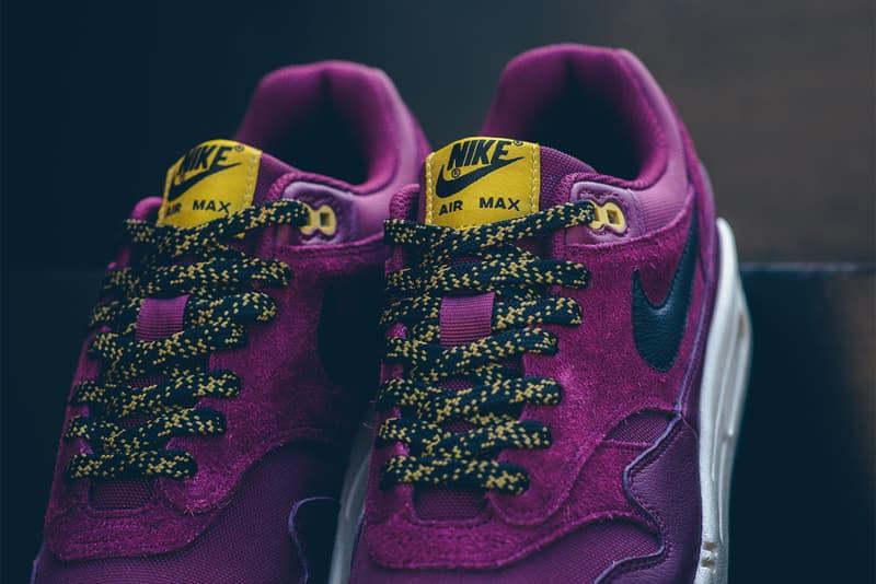 Nike Air Max 1 Premium Bordeaux Desert Moss 2017 October Release Date Info Sneakers Shoes Footwear maroon purple black yellow gold