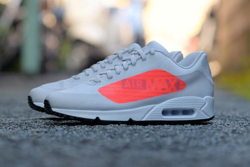 Nike Air Max 90 Oversized Big Logo grey Bright Crimson 2017 October 28 Fall Release Date Info Sneakers Shoes Footwear atmos