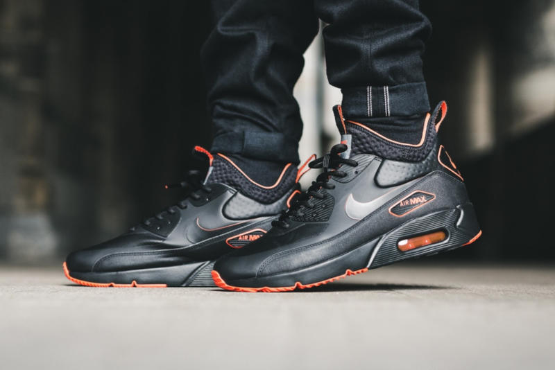 pretty nice a9bf2 141c7 Nike Air Max 90 Ultra Mid Winter Black Total Crimson 2017 October Fall  Release Date Info