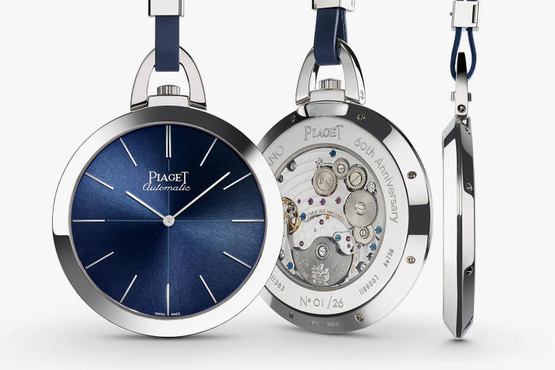 Piaget Altiplano 60th Anniversary Pocket Watch 2017 SIHH 1957 Homage Tribute Nod blue leather 18k white gold sapphire crystal