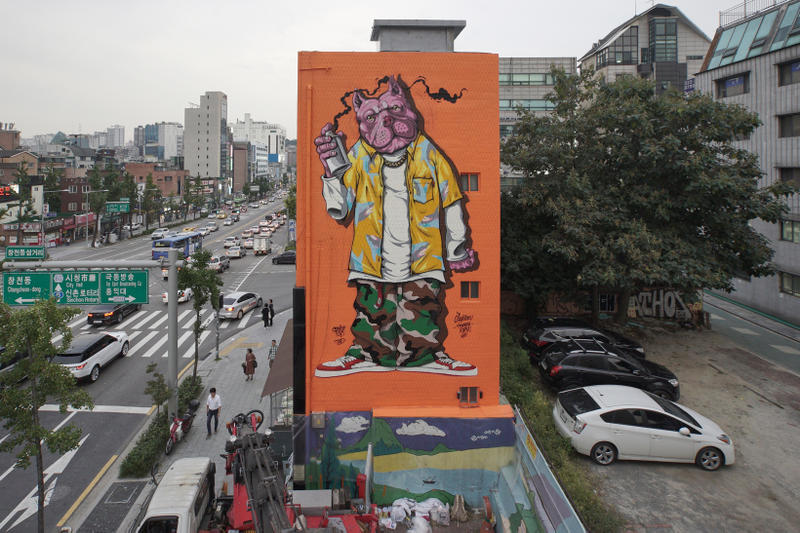 POW! WOW! Korea Street Art Mural Jasper Wong Brandon Shigeta TJ Choe Andrew Hem Cryptic Grafflex Jay Flow Laurence Vallieres Royyal Dog Sheryo Sixcoin Tristan Eaton Persue Xeva Yoon Hyup