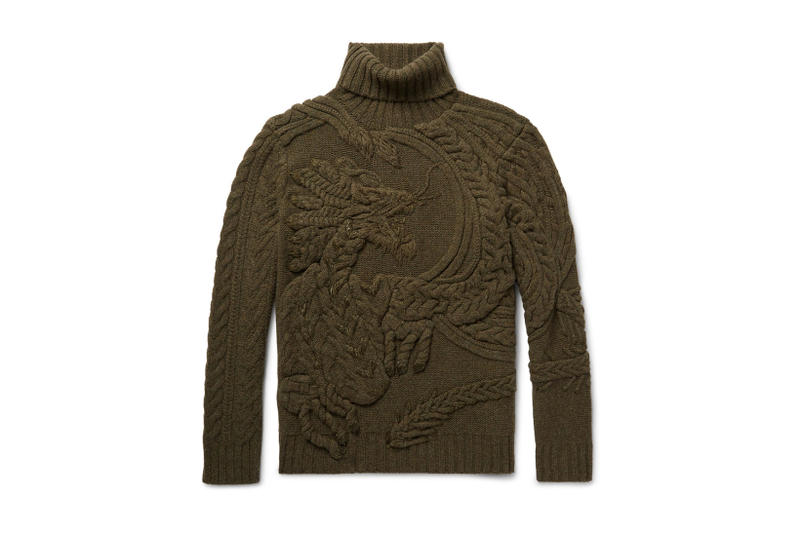 cf2162b06 Ralph Lauren Purple Label Dragon Sweater Cable Knit Wool Cashmere Rollneck  2017 Fall Winter
