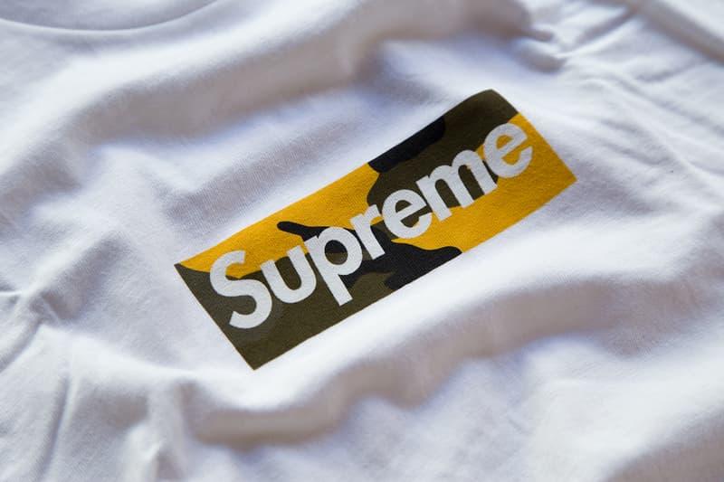 Supreme Brooklyn Box Logo T-Shirt Tee Yellow Camo