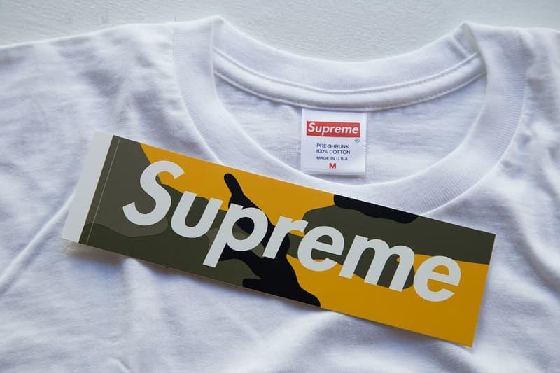 Supreme Brooklyn Box Logo T-Shirt Tee Yellow Camo Sticker