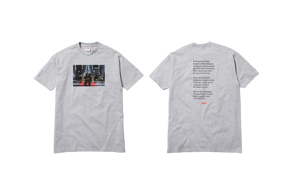 Supreme Scarface Grey T-Shirt Say Hello to My Little Friend Print