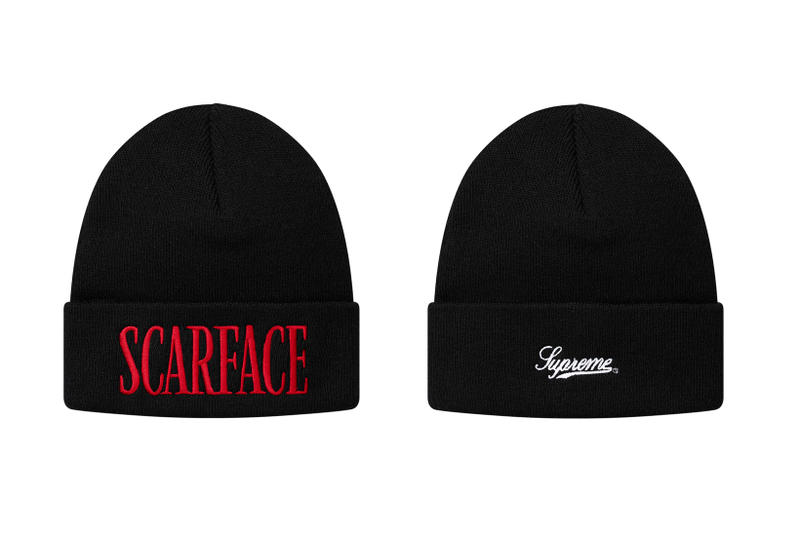 Supreme Scarface Black Beanie Red Logo