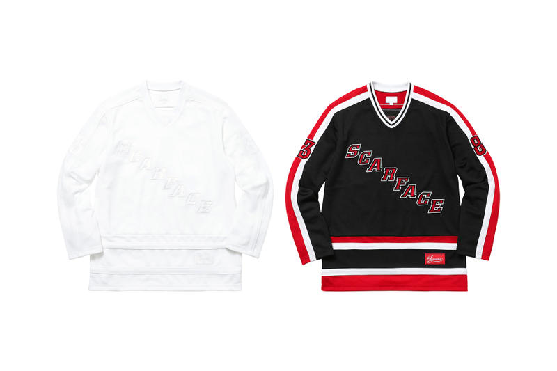 2f27f06c57ec3 Supreme Scarface White Black Red Hockey Jersey Front