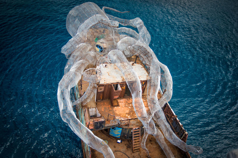 Richard Branson Sunken Ship 80 Foot Steel Kraken BVI Art Reef Kodiak Queen Virgin Gorda Caribbean Art Installation
