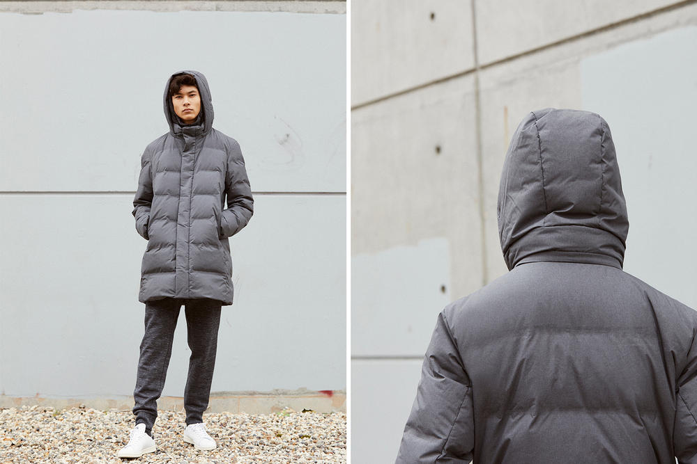 Uniqlo Seamless Down Innovation Lookbook collection bubble coat jacket parka outerwear blue grey gray brown