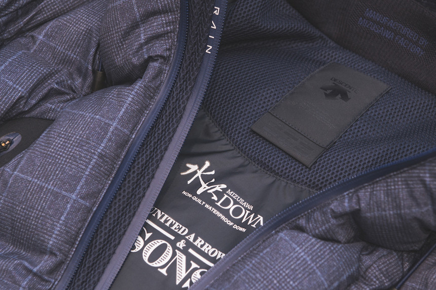 UNITED ARROWS & SONS DESCENTE ALLTERRAIN collaboration 2017 Fall Winter Puffer Down Jacket MOUNTAINEER navy glen plaid