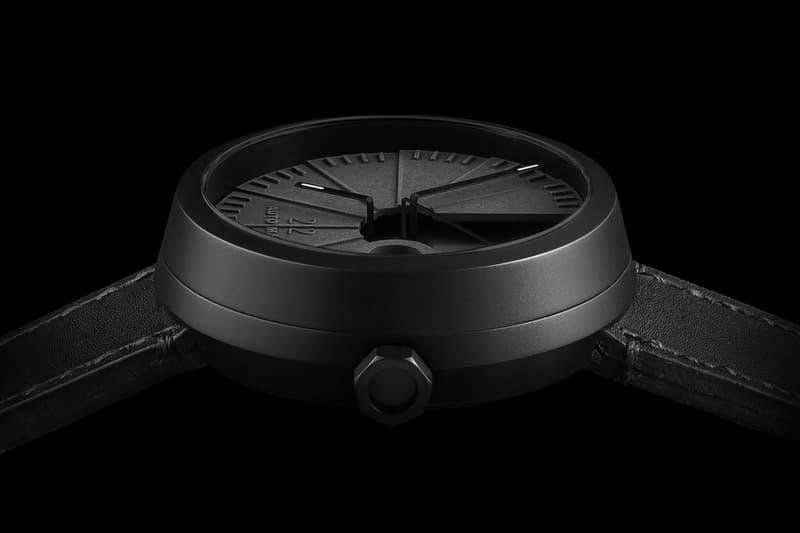 22 Design Studio 4D Concrete Automatic Watch close up of face