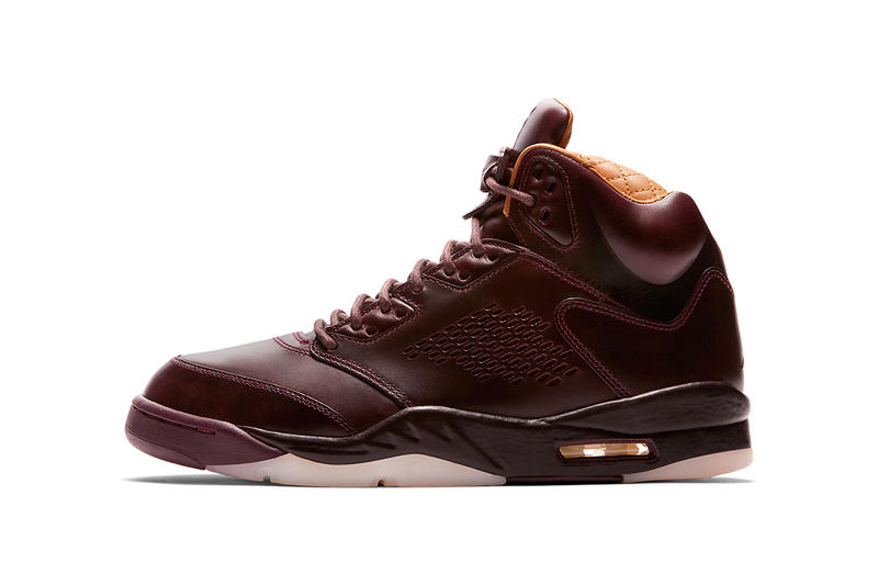 Air Jordan brand v 5 Premium leather Bordeaux burgundy maroon oxblood 2017 December 14 Release Date Info Sneakers Shoes Footwear Drop michael
