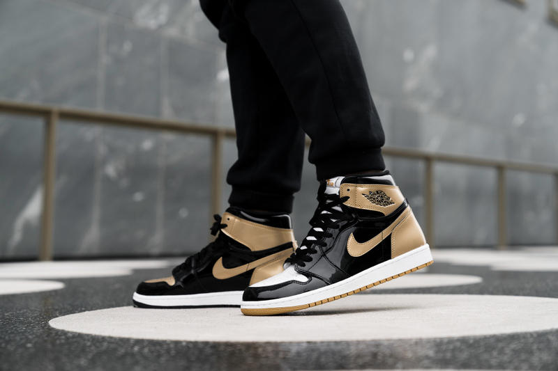 Air Jordan 1 Top 3 union complex con union LA nike Jordans Top three all patent leather gold sneaker shoes on-feet gold top three style jordan 1 High OG energy