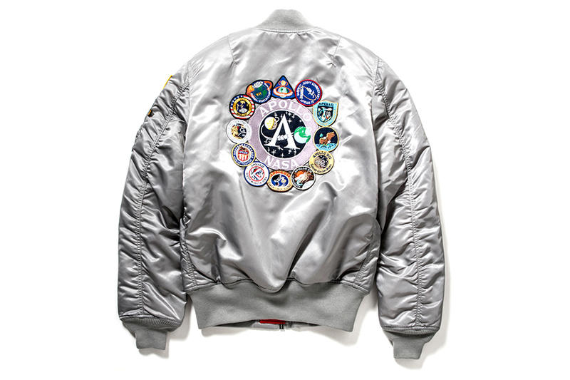 Alpha Industries MA 1 Tight Apollo Bomber Jacket nasa space metallic silver program patches patch patchwork bomber jacket coat