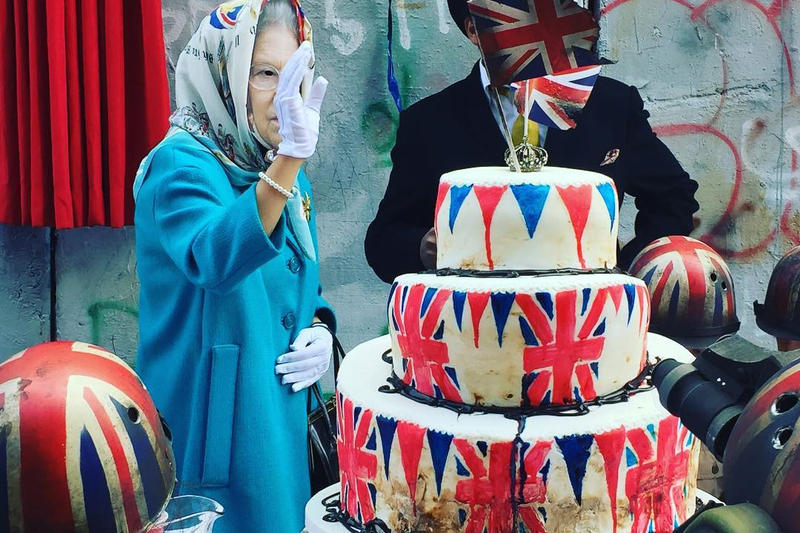 Banksy Apology Party Balfour Declaration Queens Elizabeth II The Walled Off Hotel Bethlehem Palestine Art Artwork