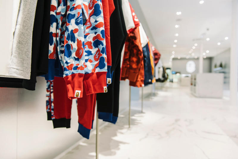 Exclusive Look Inside BAPE Paris Store Opening France Ape Camouflage French Flag