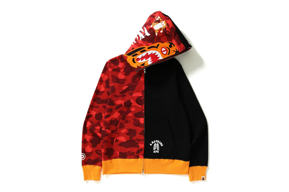 BAPE 2017 Fall Winter Tiger Shark Collection November 11 Release Date Info Red Black Camouflage Camo Zipper Print