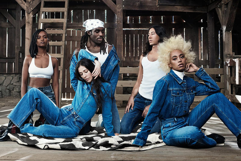 Solange Knowles Kelela Dev Hynes Calvin Klein New MyCalvins Campaign 2017 November Dev Hynes Adam Bainbridge Caroline Polachek Underwear denim jeans boot rug barn cow tank top turtleneck jacket trucker