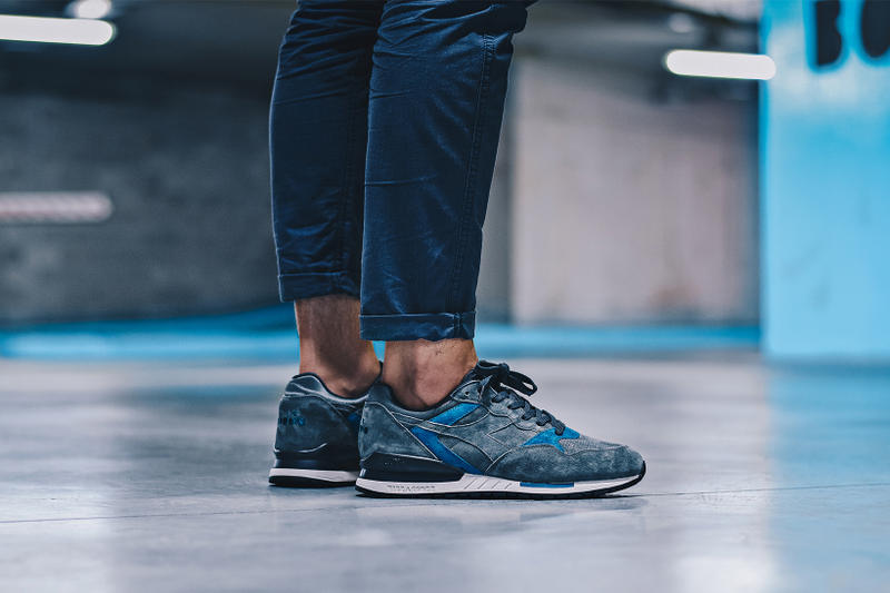 Diadora Intrepid Premium on foot footwear castle rock smoke black cosmic blue grey gray xtreme sneakers shoes footwear