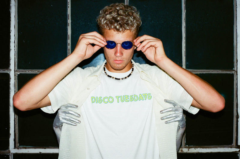 DISCO TUESDAYS 2017 Fall Winter Collection Lookbook SURF IS DEAD November December Release Date Info graphic Pink yellow hoodie short long sleeve t-shirt