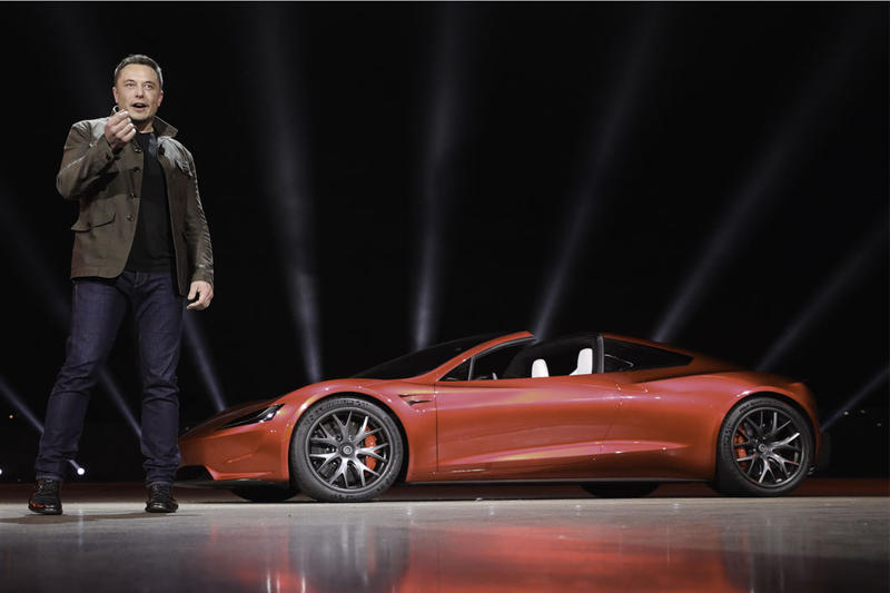 Elon Musk Tesla Roadster Fly