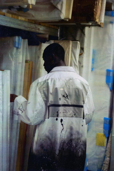 fragment design A COLD WALL Collaboration Teaser Samuel Ross Instagram 2017 November 17 part 1 jackets jacket coat coats outerwear  ICONOGRAPHY T-SHIRT 1  SHATTERED ACETATE PAINT STAINED UTILITY BAG